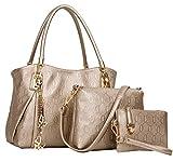 Handtaschen Damen, Coofit Handtaschen Leder Frauen Handtaschen Set  3 teiliges mit Crossbody Tasche und Handgelenktasche