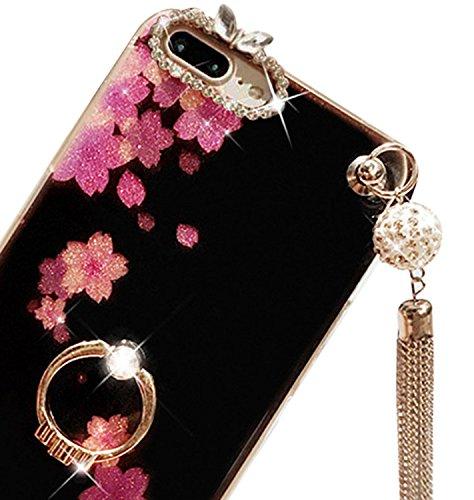 für iPhone 7+ Plus Hülle, Vandot Luxury Back Cover schönen Boden Lotus Hull mit Anhänger Quaste glitter Bling Diamond Case Hull Shell mit 360 Grad Rotation Ring Ultra Slim Soft TPU Silikon-Bumper Unte Flower-4