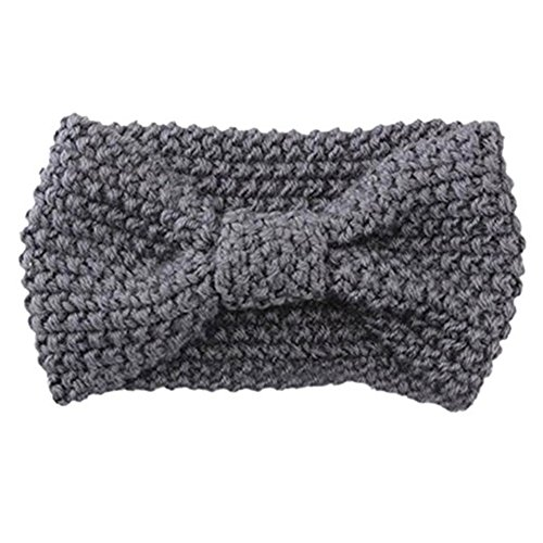 HAINES Damen Gestrickt Stirnband Häkelarbeit Schleife Design Winter Kopfband Haarband Hellgrau