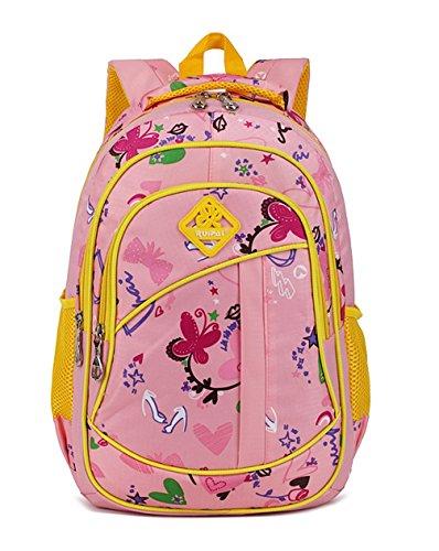 Keshi Cool Maedchen Rucksack Schulranzen Pink and Yellow