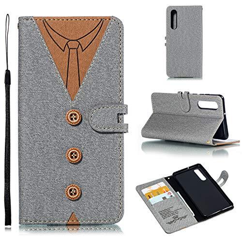 Preisvergleich Produktbild Huawei P30 Hülle,  Leder Tasche Handyhülle Flip Wallet Schutzhülle für Huawei P30 mit Ständer und Kartenfächer / Magnetverschluss (Grau)