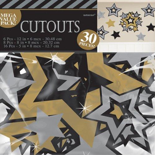 PARTY DISCOUNT NEU Deko-Set Cut Out Sterne versch. -