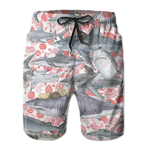 Cats Riding Sharks Men's Printing Quick Dry Beach Board Shorts Swim Trunks S -