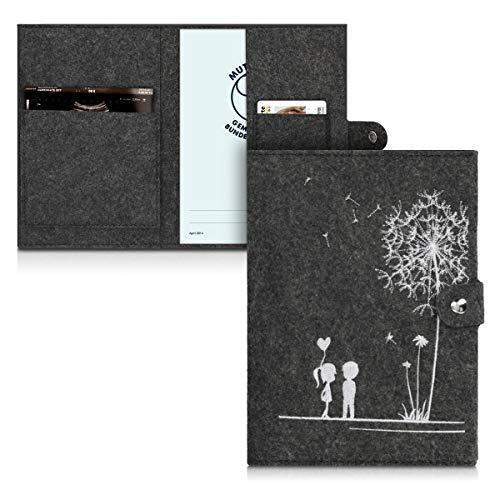 kwmobile Mutterpasshülle aus Filz - Hülle für deutschen Mutterpass mit extra Fächern - Cover in Pusteblume Love Design