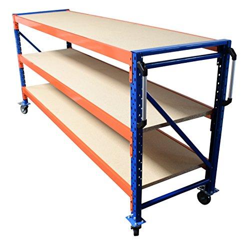 Werkbank fahrbar, Packtisch mit Holzboden verschiedene Breiten/Höhen/Tiefen/Ebenen (120/104/60cm (B/H/T), 2 Ebenen) - 4