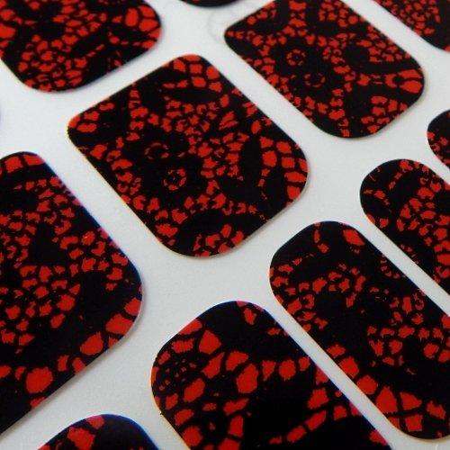 Chix Nails - Adhesivos de vinilo para uñas, diseño de dedos, color negro con encaje rojo