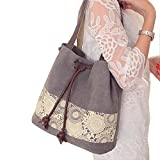 ParaCity Fashion Casual Style Lady Handbag Cotton Canvas Retro Shoulder Bag With Mori Girl Paiting Series Dual-use Bag Messenger Hobo Satchel Bag Design For Women Girls Students (M-Girl, Gray)