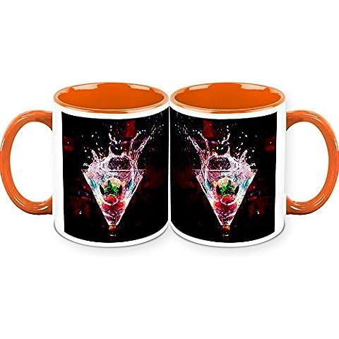 HomeSoGood Special Mock-tail Drinks White Taza de cafe de ceramica - 11 Oz (Set Of 2)