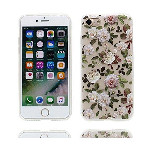 Custodia iPhone 7, Silicone trasparente Cartoon Stile del modello Case Con materiale di alta qualità & morbido & & Ultra sottile iPhone 7 copertura 4.7 Graffi Prova / anguria bianca fiore