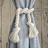 BTSKY - Coppia di cordoni ferma-tende in cotone con nappe, realizzati a mano Beige