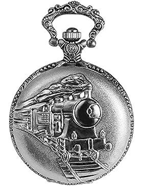Trend-Wares Taschenuhr Weiß Silber Klassik Eisenbahn Dampflok Lokomotive Zug Analog Quarz Metall Arabische Ziffern