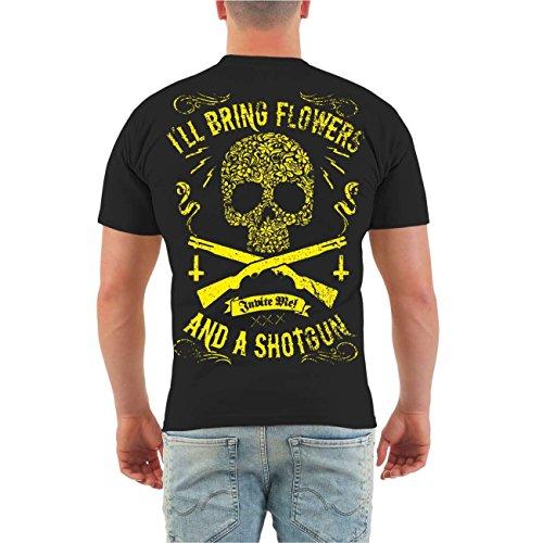 Männer und Herren T-Shirt El Loco SHOTGUN (mit Rückendruck) Größe S - 8XL Körperbetont schwarz
