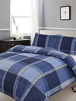 King Size Duvet / Quilt Cover Bedding Set Hamilton Check Blue Checked / Striped