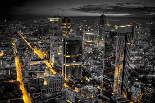 Papiertapete Foto-Tapete Frankfurt am Main KT303 Tapete Gold Schwarz Frankfurt Fototapete Größe: 420x270cm Kleistertapete Wandbild XXL-Tapete (Schwarz Gold Tapeten)