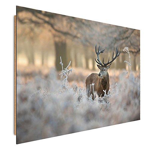 Feeby. Quadro Deco Panel - 1 Parte - 78x118 cm, Pannello singolo Quadro Decorativo Stampa artistica, CERVO, NATURA, MARRONE