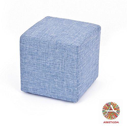 Arketicom cube pouf poggiapiedi salotto puff cubo tappezzato jeans denim 55x42