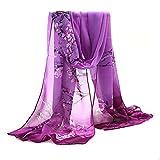 Sanwood Ladies Chiffon Scrawl Flower Printed Wrap Scarf (Purple)