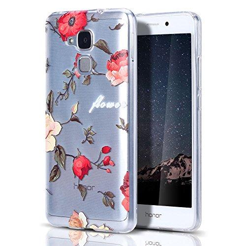 """Huawei Honor 5C/GT3 Hülle, CaseLover Ultradünner Transparenter Tasche Schutzhülle, Honor 5C/7 Lite/Huawei GT3 5.2"""" Weiche TPU Handyhülle Stoßdämpfende Schale Fall Case Shell, Rote Rose Zweig"""