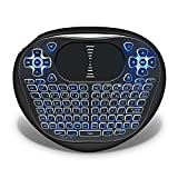 ANEWKODI Mini Teclado Inalámbrico Retroiluminado Touchpad Keyboard con Ratón 2,4 GHz Wireless Mini Keyboard con Azul Retroiluminada LED y el Adaptador de Interfaz USB, para Smart TV, Pad, Google/Android TV Box, HTPC, IPTV, XBOX, PC, Windows 10/7/2000/XP/Vista/CE—(T8 LED retroiluminada, batería del Li-ion recargable)