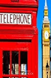 London Notebook: London Souvenir, Notepad with British Red Telephone Box and Big Ben, 100 Lined Pages