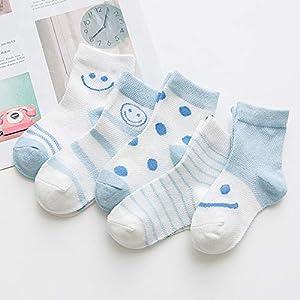 RUOHAN Kinder Socken 5 Paar Kindersocken Baumwollkindersocken Cartoon-Lächeln Baumwollbootsocken Ultradünne Netzsocken