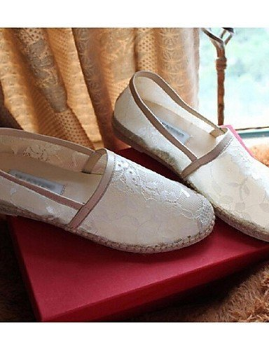 ShangYi gyht Scarpe Donna Tulle Piatto Comoda Mocassini Casual Nero/Bianco White