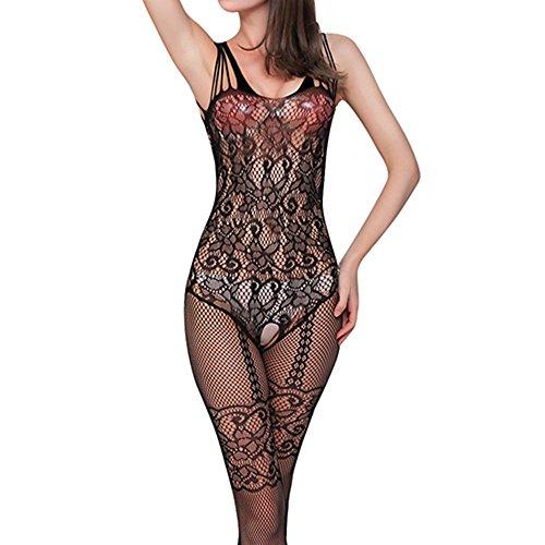 Women Floral Open Crotch Mesh Fish Net Body Stocking Lingerie Bodysuit Nightwear