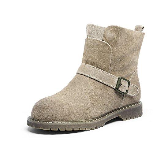 FUFU Stivali da donna Biker Ladies Casual Flat Boots Beige Nero Marrone 0.99 in (2.5cm) ( Colore : Marrone , dimensioni : EU36/UK3.5/CN35 ) Beige