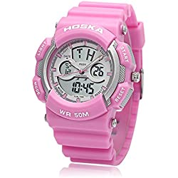 Leopard Shop HOSKA H004B Multifunctional Sport Watch Digital Quartz Children Wristwatch Chronograph Calendar Alarm EL Backlight 50M Water Resistance Pink