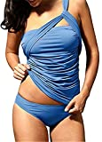 Shelers Damen One Shoulder Badeanzug Zwei Stück geraffte Tankini Bauch Control Bikini Set (Blau, XL)