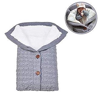 Manta de cochecito de lana de punto,Manta para bebé recién nacido con terciopelo,Saco de Dormir de Punto de Ganchillo,manta de forro polar para cochecito