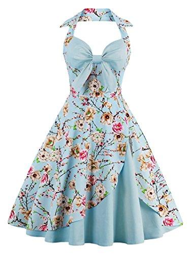 Babyonline Damen Halter Vintage Retro Kleider Abendekleider, Blau, ()