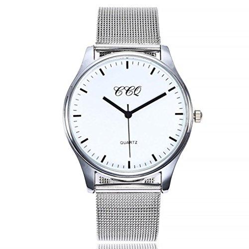 Uhren Dellin Uhren Damen Beiläufige Stahlstreifen Quarz Edelstahl-Band-Marmorband-Uhr-analoge Armbanduhr (A)