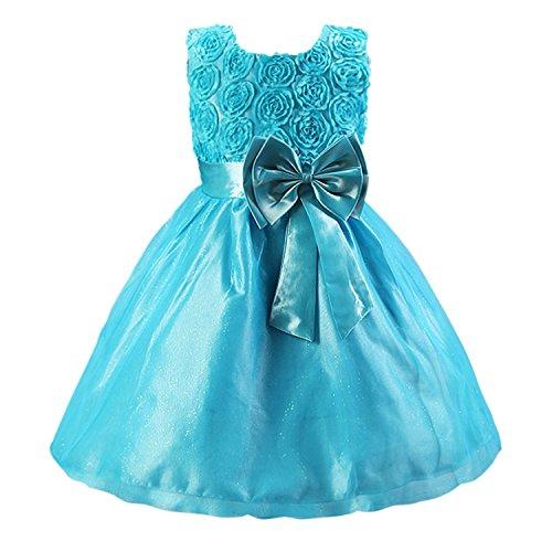 Imagen de katara  vestido de noche para niña con flores y con arco, color azul, talla 92/98 tamaño fabricante 90