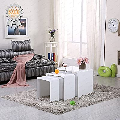 Teda2017 High Gloss White Nesting End Table Set Of 3 Side Table Coffee Table Living Room produced by Teda2017 - quick delivery from UK.