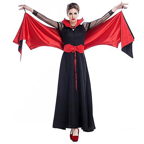 Costour Neues Halloween Königin Polyester Kleid Vampir Feldermaus Kostüm Schwarz Rot (Rot Und Schwarz Kleid Kostüm)