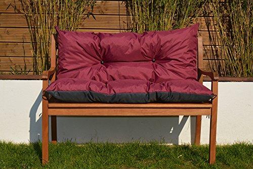 Gartenbankauflage Bankauflage Sitzpolster Bankkissen Sitzkissen und Rückenkissen Polsterauflage leicht zu reinigen 150 cm (Bordeaux)