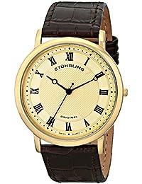 Stuhrling Original Symphony Classique 45 - Reloj de cuarzo, para hombre, con correa de cuero, color marrón