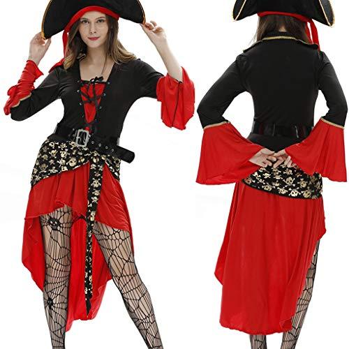 carol -1 Damen Halloween Weihnachten Performance Kleid Kostüm Pirat Cosplay Kleid Passt Set für Damen - Perfekt für Fasching Karneval & Halloween Verkleidung Party Nachtclub Rot - Billige Weibliche Piraten Kostüm