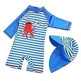 Kinder Jungen Badeanzug Bademode Einteiler UPF 50+ UV Schützend Schwimmanzug mit Sonnenhut (XS/ 73-80cm)
