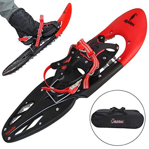 ALPIDEX Schneeschuhe 29 INCH für Schuhgröße 38-46, bis 130 kg, mit Double-Traction Bindung und inklusive Tragetasche - wahlweise mit oder ohne Stöcke erhältlich, Farbe:Red ohne Stöcke