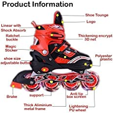 Sufi World PU Aluminium Alloy Inline Skates with Adjustable Size LED Flash Light on wheels, 6-14 Years Age (Red and Silver)