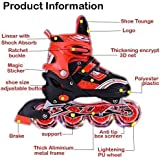 Sufi World® Latest Designed Inline Skates Size Adjustable All Pure PU wheels it has Aluminum-Alloy which is Strong with LED Flash Light on wheels (Red-Silver ) for 6-14 Years Age
