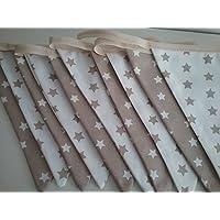 Guirnalda decorativa color Beig y Blanco Estrellas para habitación de bebé o infantil