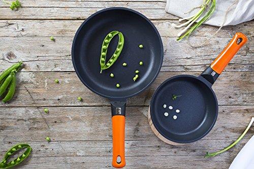 BRA Efficient Orange Set de 3 sartenes, Aluminio Fundido, aptas para Todo Tipo de cocinas, 20-24-28 cm