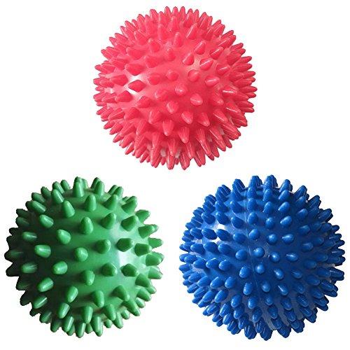 Pelotas de masaje con pinchos, rodillo, masajeador de pies, tejido de, profundo punto de activación de acupresión, para fascitis plantar, terapia de reflexología, estrés y liberación miofascial, hombre, 3Pack:9cm Red Soft Spiky,7cm Green Soft Spiky,7cm Blue Soft Spiky