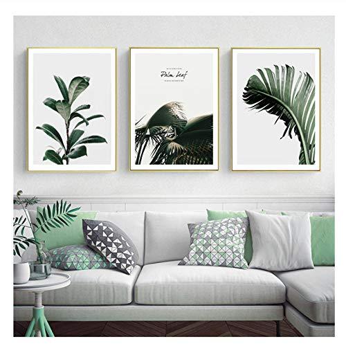 xwwnzdq 3 stücke Nordic Leinwand Malerei Natürliche Grüne Pflanze Foto Moderne Wandkunst Für Wohnzimmer Schlafzimmer Einfache Poster Kein Rahmen -