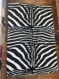 orientbazar24 Zebra Teppich Kunstfell 220 x 150 cm Rechteckig Rückseite Anti-Rutsch-Gummierung aus Latex