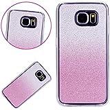 MUTOUREN Samsung Galaxy S7 Edge Caso funda de movil silicona funda la caja del teléfono TPU resistencia a la caída de silicona concha,calidad alta moda sencillo cambio gradual matorral - rosa Caja