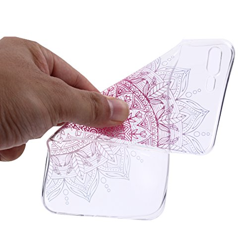 iPhone 7 Plus Hülle, iPhone 7 Plus Hülle Transparent, iPhone 7 Plus Hülle TPU Case Schutzhülle Silikon Case, Cozy Hut ®[Liquid Crystal] 3D Romantik Flower Animal Cartoon Series Transparent Weiche Sili Rote Sonne